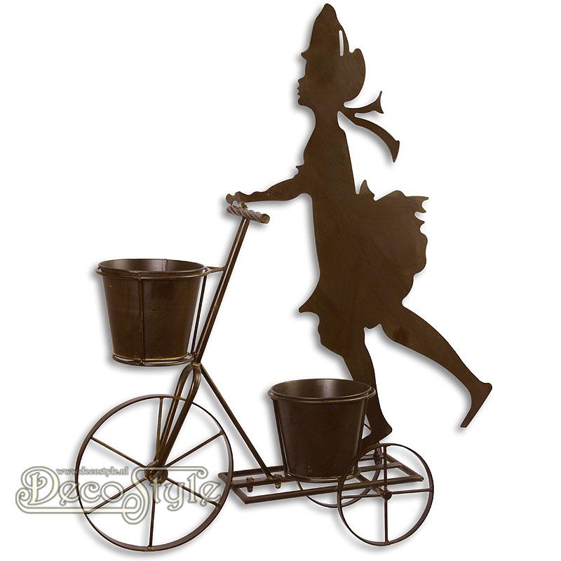 Metalen plantenbakken meisje op fiets for Metalen decoratie fiets